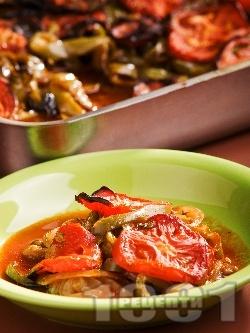 Лесна Имам Баялдъ - традиционно турско ястие с патладжани, чушки и домати на фурна - снимка на рецептата